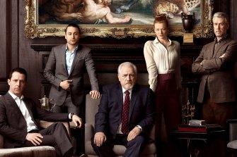 Pemeran Succession (dari kiri) Jeremy Strong, Kieran Culkin, Brian Cox, Sarah Snook dan Alan Ruck.