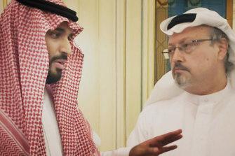 Saudi Crown Prince Mohammed bin Salman, left, and journalist Jamal Khashoggi in a scene from the documentary The Dissident.