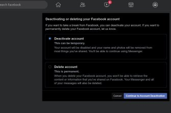 When leaving Facebook, you have a choice of a deactivation where Facebook keeps all your data, or a total deletion that locks you out for good.