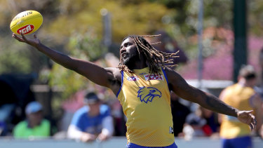 Instant impact: Eagles ruckman Nic Naitanui at training on Monday.