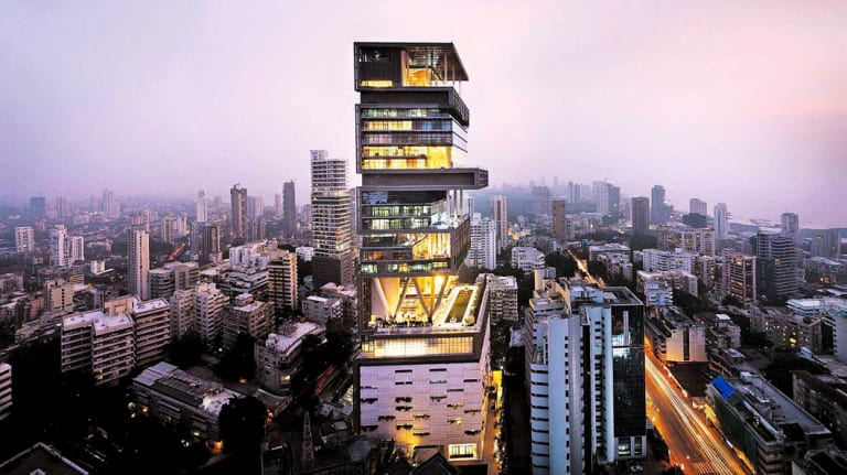 Antilia, the Mumbai home of India's wealthiest man, Mukesh Ambani. The property is valued at over $US1 billion and has more than 600 staff to maintain it.