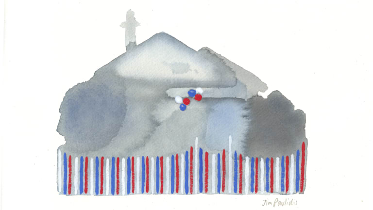 """""""Footscray 3"""", from a series on houses decorated in Western Bulldogs colours in 2016, when the club won its first flag in 62 years (gouache, 2018)."""