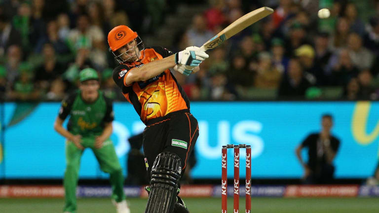 Back in the swing: Scorchers' Cameron Bancroft batting against the Melbourne Stars at the MCG on Wednesday night.