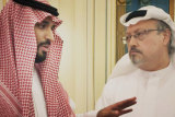 Saudi Crown Prince Mohammed bin Salman, left, with journalist Jamal Khashoggi in a scene from the documentary The Dissident.