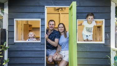 Chris and Odette Grabinski and their children George aged 4, who is starting preschool, and Elliott aged 2. Declining preschool enrolments in NSW as health experts say the benefits of early ed shouldn't be overlooked by parents. 23rd January 2021 Photo: Steven Siewert