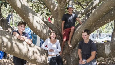 Students Rex Alameddine, Hamilton Thorley, Hannah Moffat, Patrick Foley Jones at Balmoral Beach