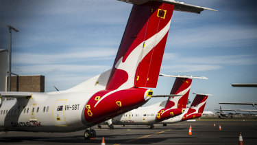 Qantas regional aircraft mothballed at Sydney domestic airport.