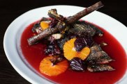 Duck with orange and  Davidson's plum at Billy Kwong restaurant in Sydney.
