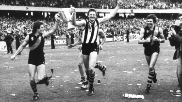 Richmond players after their Grand Final Series win in 1980.