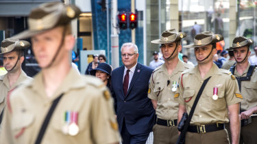 Prime Minister Scott Morrison attends the Remembrance Day service at Martin Place on Monday.