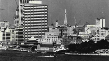Circular Quay and the Sydney city skyline in 1973.