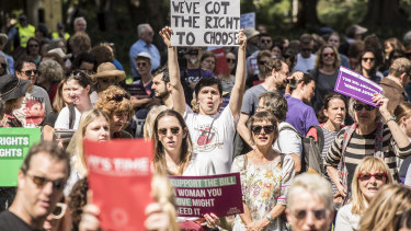 Pro-choice protesters also rallied in Hyde Park at the weekend to demonstrate their support for the abortion decriminalisation bill.