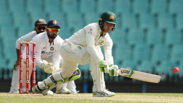 Alex Carey of Australia A at the crease during day three of the tour match against India at the SCG.
