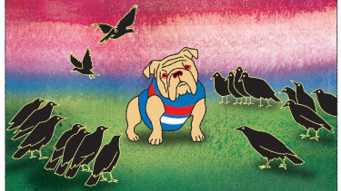 A murder of Crows: Could Adelaide pull off a breakthrough win over the Bulldogs? Illustration: Jim Pavlidis