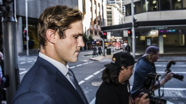 Jack de Belin leaves Downing Centre Court on May 10 after his second trial ended in a hung jury.