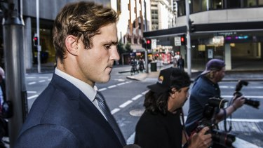 Jack de Belin leaves Downing Centre Courthouse on Monday.