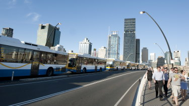 Victoria Bridge will be converted to a green bridge as part of the Brisbane Metro project.