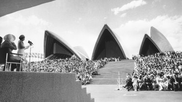 Queen Elizabeth speaks at the opening of the Opera House in 1973.