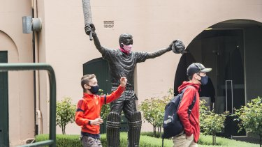 The statue of Steve Waugh fitted with a mask.