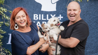 Shelly Horton and husband Darren with their fur babies Bella and Mr Barkley.
