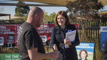 Sarah Henderson campaigning on election day.