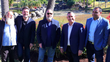 At the announcement of the new studio in Coffs Harbour (from left) Jack Thompson, Keith Rodger, Russell Crowe, deputy premier John Barilaro and local MP Gurmesh Singh.