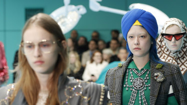 A model wearing the $1140 Gucci turban that caused offence to Sikh groups.