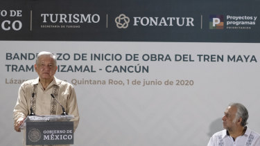 Mexican President Andres Manuel Lopez Obrador, left, at the launch of the Mayan train project.