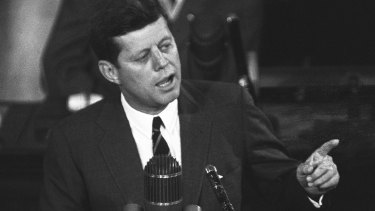 """US President John F Kennedy in 1961: """"I believe this nation should commit itself to achieving the goal, before the decade is out, of landing a man on the moon and returning him safely to Earth."""""""