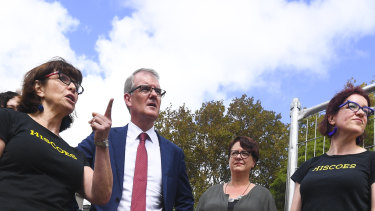 Labor leader Michael Daley campaigned in Surry Hills on Thursday.