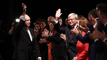 Former prime ministers Paul Keating and Kevin Rudd, pictured at the 2019 Labor campaign launch, have launched a blistering attack on the government over superannuation.