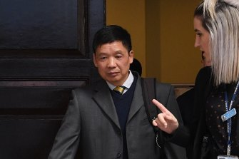 Qi Yu's father, Zhihe Yu leaves the Supreme Court on Monday.