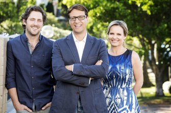 Selling Houses host Andrew Winter, centre, with landscape gardener Charlie Albone and designer Shaynna Blaze.