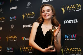 With the AACTA Award for Best Lead Actress for The Daughter in 2016.