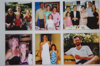 Photos of members of the Falkholt family used in a booklet at their funeral.