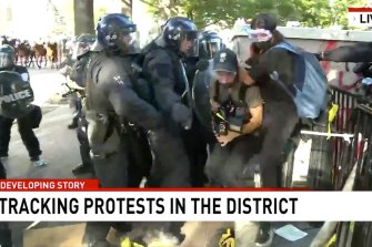 Seven cameraman Tim Myers and reporter Amelia Brace were assaulted by police officers while covering protests outside the White House on June 2.