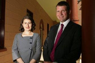Then-shadow NSW transport spokeswoman Gladys Berejiklian and then-shadow treasurer Mike Baird in 2010.