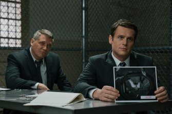 Mindhunter stars Holt McCallany, left, and Jonathan Groff as FBI agents. Now available on Netflix.