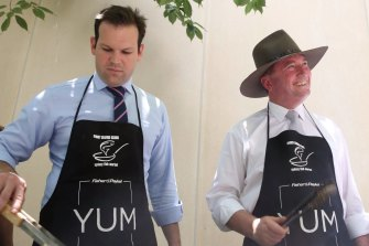 In arguing against farmers being slugged with a costly carbon target, Matt Canavan (left) and Barnaby Joyce are spurning something the Prime Minister has already rejected.