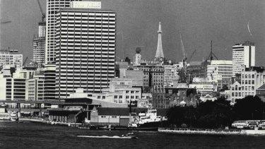 Circular Quay and the Sydney city skyline in 1973.