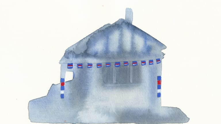 """Footscray 2"", from the series on houses decorated in Western Bulldogs colours in 2016, when the club won its first flag in 62 years (gouache, 2018)."