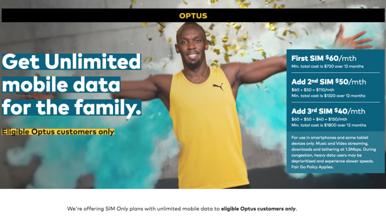 An ad for Optus' new 'unlimited' data plan