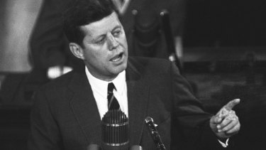 "US President John F Kennedy in 1961: ""I believe this nation should commit itself to achieving the goal, before the decade is out, of landing a man on the moon and returning him safely to Earth."""