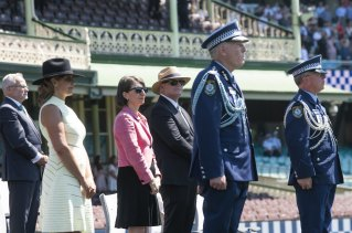 Prime Minister Scott Morrison and NSW Premier Gladys Berejiklian and NSW Police Commissioner Mick Fuller during the NSW Police Force classes of 2020 Attestation Parade at Sydney Cricket Ground. 4th December 2020.