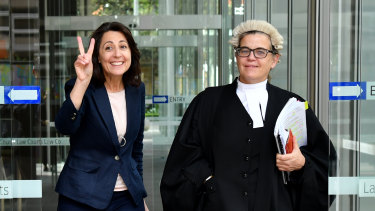 Esther Rockett (left) leaves the Supreme Court in Sydney.