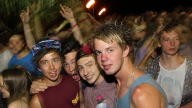 A Schoolies party in Byron Bay in 2012.