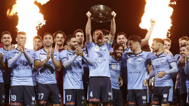 Sydney FC celebrate another A-League premiers plate, their third in the past four seassons.