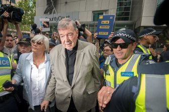 George Pell leaves the County Court in February 2019.