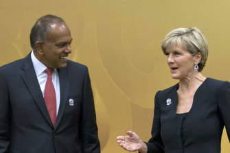 Singapore Home Affairs Minister K Shanmugam, a former foreign minister, speaks to then Australian foreign minister Julie Bishop before an ASEAN meeting in Myanmar in 2014.