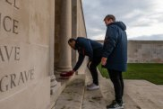 Respect: Roosters co-captains Jake Friend and Boyd Cordner at the memorial in Villers-Bretonneux.